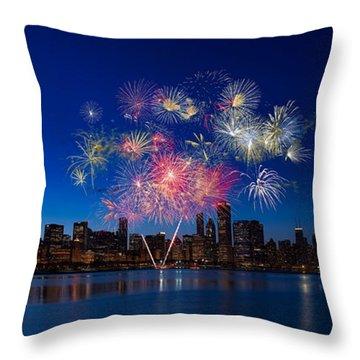 Chicago Lakefront Fireworks Throw Pillow