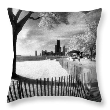 Throw Pillow featuring the photograph Chicago Lakefront Infrared by Martin Konopacki