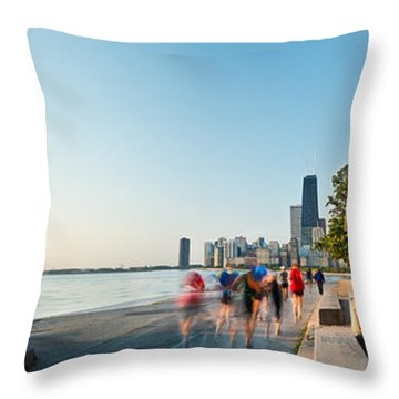 Chicago Lakefront Panorama Throw Pillow by Steve Gadomski