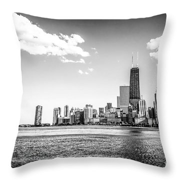 Chicago Lakefront Skyline Black And White Picture Throw Pillow by Paul Velgos