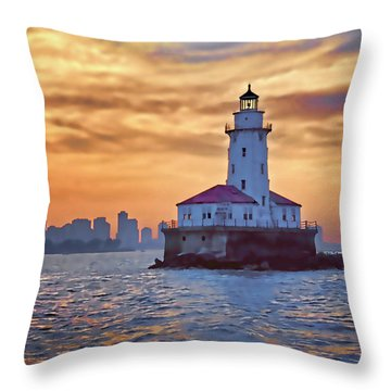 Chicago Lighthouse Impression Throw Pillow by John Hansen