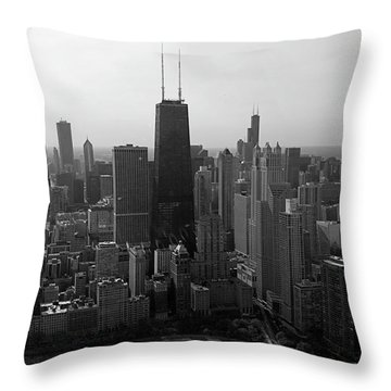 Chicago Looking South 01 Black And White Throw Pillow by Thomas Woolworth