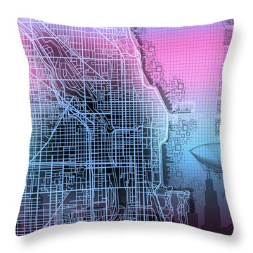 Chicago Map Gradient 2 Throw Pillow