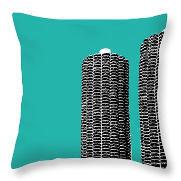 Chicago Skyline Marina Towers - Teal Throw Pillow