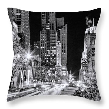 Chicago Michigan Avenue Light Streak Black And White Throw Pillow by Christopher Arndt