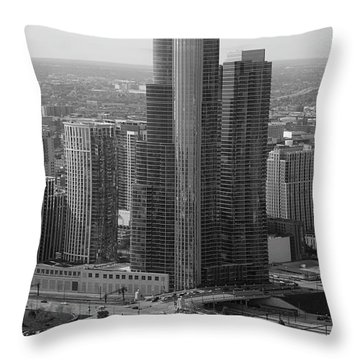 Chicago Modern Skyscraper Black And White Throw Pillow by Thomas Woolworth