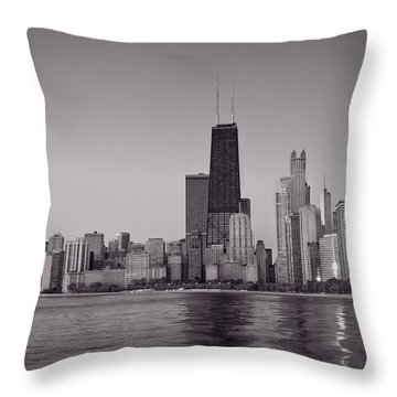 Chicago Morning Bw Throw Pillow