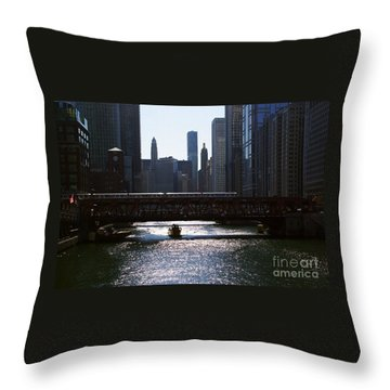 Chicago Morning Commute Throw Pillow