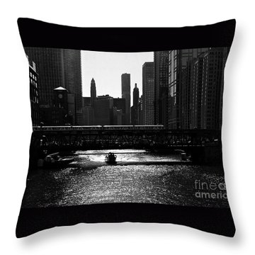 Chicago Morning Commute - Monochrome Throw Pillow