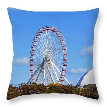 Chicago Navy Pier Ferris Wheel Throw Pillow by Christine Till