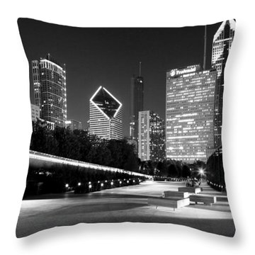 Chicago Night Skyline Black White Throw Pillow