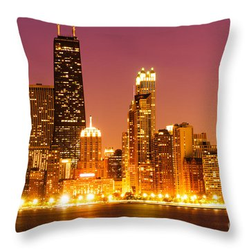 Chicago Night Skyline With John Hancock Building Throw Pillow by Paul Velgos