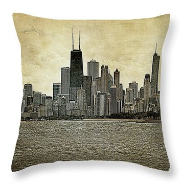 Chicago On Canvas Throw Pillow
