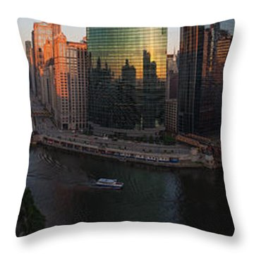 Chicago On The River Throw Pillow by Steve Gadomski