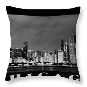 Chicago Panorama At Night Throw Pillow