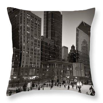 Chicago Park Skate Bw Throw Pillow by Steve Gadomski