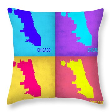 Chicago Pop Art Map 1 Throw Pillow by Naxart Studio