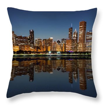 Chicago Reflected Throw Pillow by Semmick Photo