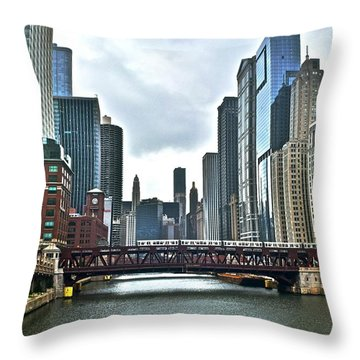 Chicago River And City Throw Pillow