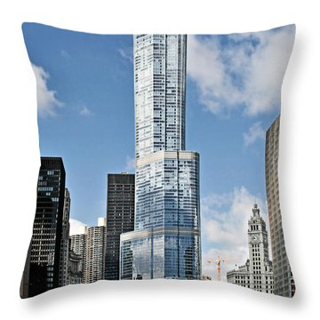 Chicago River - Beauty And Headache Throw Pillow by Christine Till