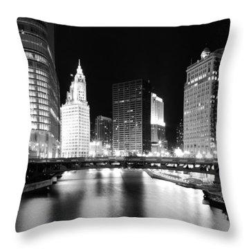 Chicago River Bridge Skyline Black White Throw Pillow