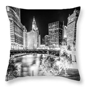 Chicago River Buildings At Night In Black And White Throw Pillow