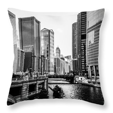Chicago River Buildings In Black And White Throw Pillow by Paul Velgos