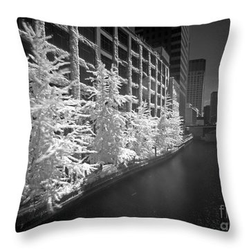Throw Pillow featuring the photograph Chicago River Infrared by Martin Konopacki