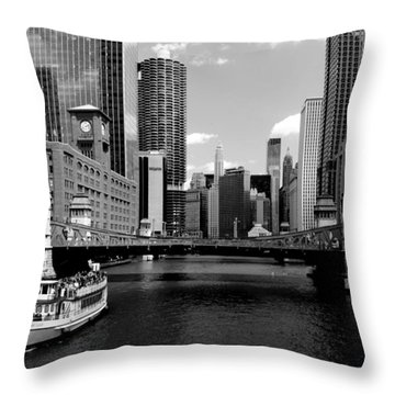 Chicago River Skyline Bridge Boat Throw Pillow