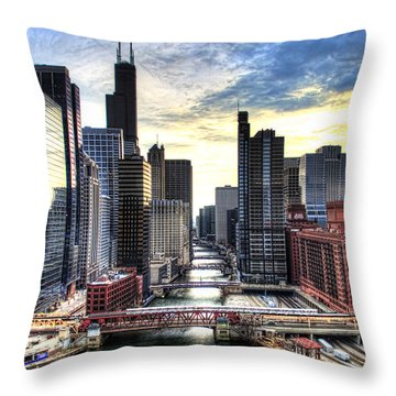 Chicago River Throw Pillow by Tammy Wetzel