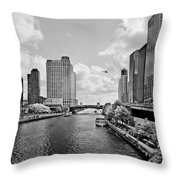 Chicago River - The River That Flows Backwards Throw Pillow by Christine Till