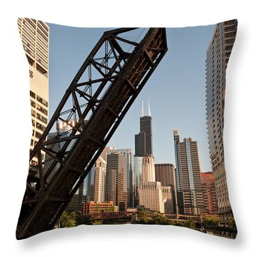 Chicago River Traffic Throw Pillow by Steve Gadomski