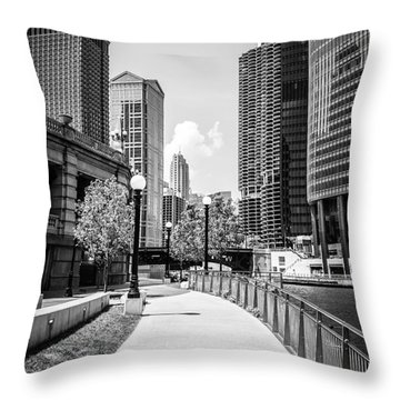 Chicago Riverwalk Black And White Picture Throw Pillow by Paul Velgos