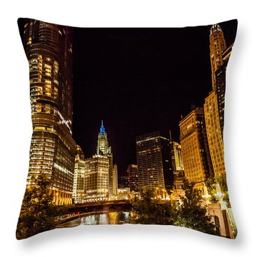 Chicago Riverwalk Throw Pillow