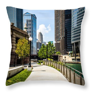 Chicago Riverwalk Picture Throw Pillow by Paul Velgos
