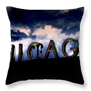 Chicago Sign Sunset Throw Pillow by Kristie  Bonnewell