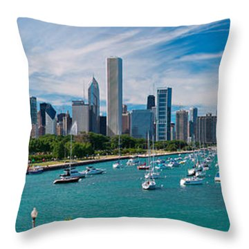 Chicago Skyline Daytime Panoramic Throw Pillow by Adam Romanowicz