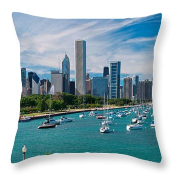 Chicago Skyline Daytime Panoramic Throw Pillow