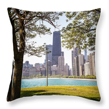 Chicago Skyline And Hancock Building Through Trees Throw Pillow by Paul Velgos