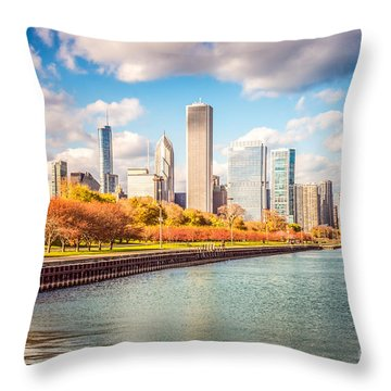 Chicago Skyline And Lake Michigan Photo Throw Pillow by Paul Velgos