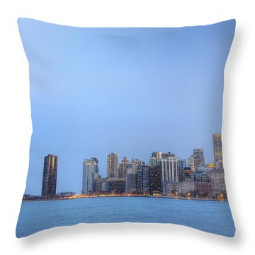 Chicago Skyline And Navy Pier Throw Pillow by Shawn Everhart
