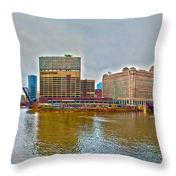 Throw Pillow featuring the photograph Chicago Skyline And Streets by Alex Grichenko