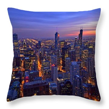 Chicago Skyline At Dusk From John Hancock Signature Lounge Throw Pillow