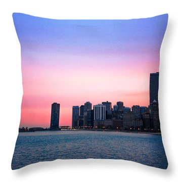 Chicago Skyline At Lake Michigan Throw Pillow