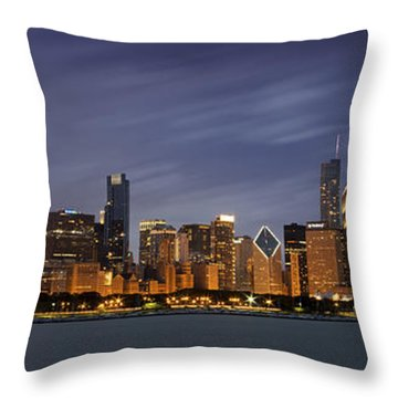 Chicago Skyline At Night Color Panoramic Throw Pillow