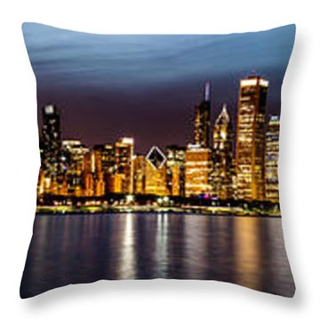 Chicago Skyline At Night Panoramic Throw Pillow