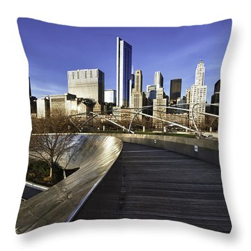 Chicago Skyline At Sunrise Throw Pillow by Sebastian Musial