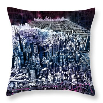 Chicago Skyline Black Verson Throw Pillow