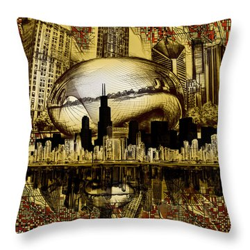 Chicago Skyline Drawing Collage 3 Throw Pillow