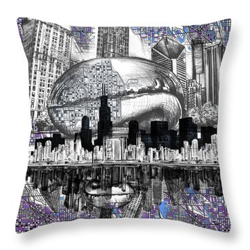 Chicago Skyline Drawing Collage Throw Pillow
